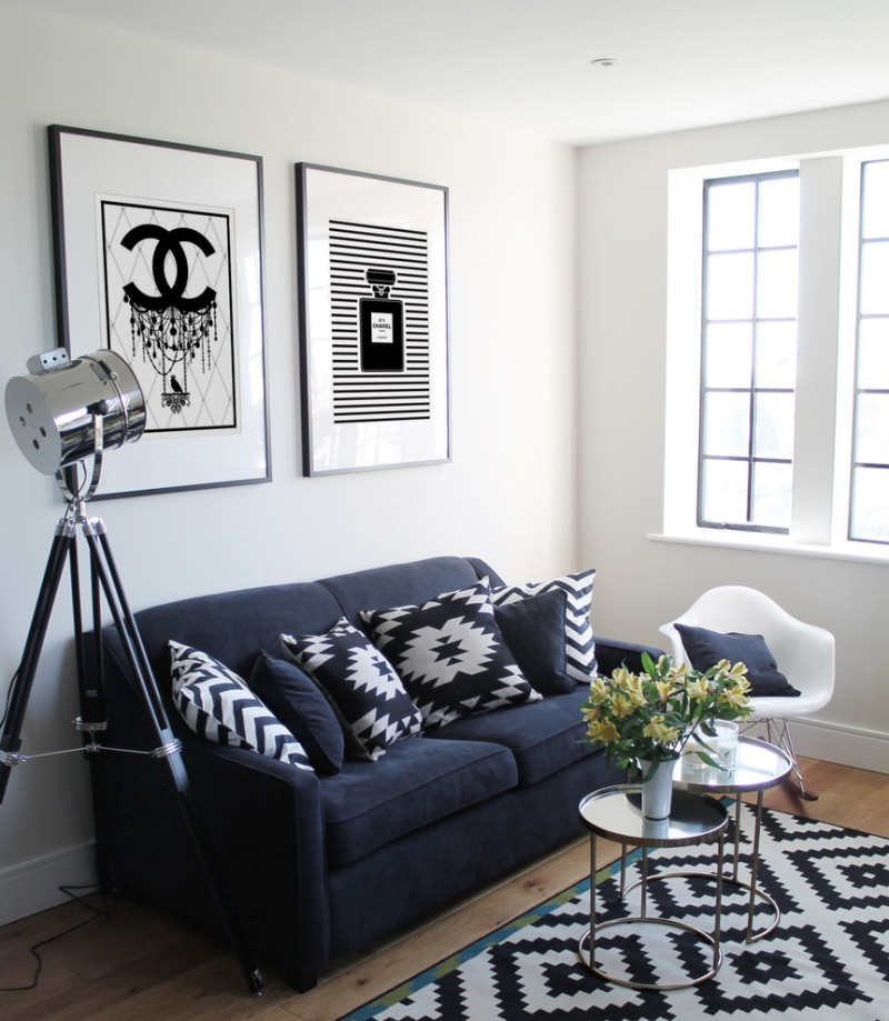 Black Sofa With Decorative Pillows Modern White Rocking Chair Layered Round Gl Top Table Area Rug
