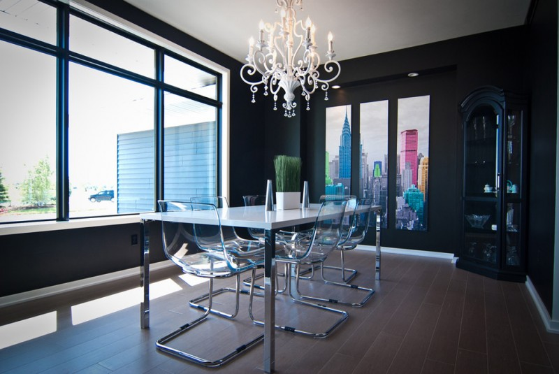 contemporary dining room traditional corner cabinet in black traditional style chandelier clear acrylic dining chairs solid white top dining table with metal base dark brown ceramic tiles floors