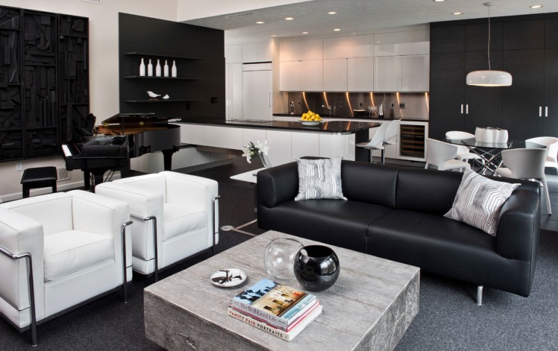 contemporary living room idea black leather sofa with bright accent pillows white chairs with stainless steel accents block butcher coffee table grey area rug