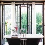 Curtains For French Doors Long White Sheer Voile Door Panels Curtains Black Rod Vintage Chandelier Free Standing Tub Stainless Steel Tub Filler Black Frame French Doors