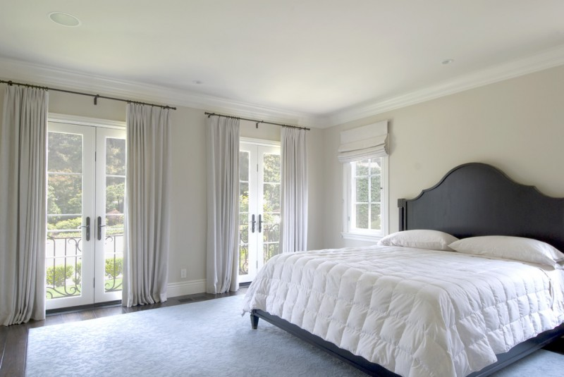 curtains for french doors master bed black wood headboard double frech doors window with white shade large white rug wood flooring