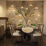 Dining Room Decorating Ideas Candle Holders On Stones Wall Plant Unique Wooden Table Comfy Chairs Wood Flooring Japanese Decorations