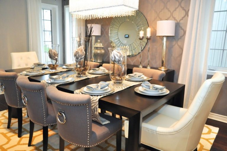 Dining Room Decorating Ideas Comfy Chairs Dark Wooden Table Unique Mirror Luxurious Lamp