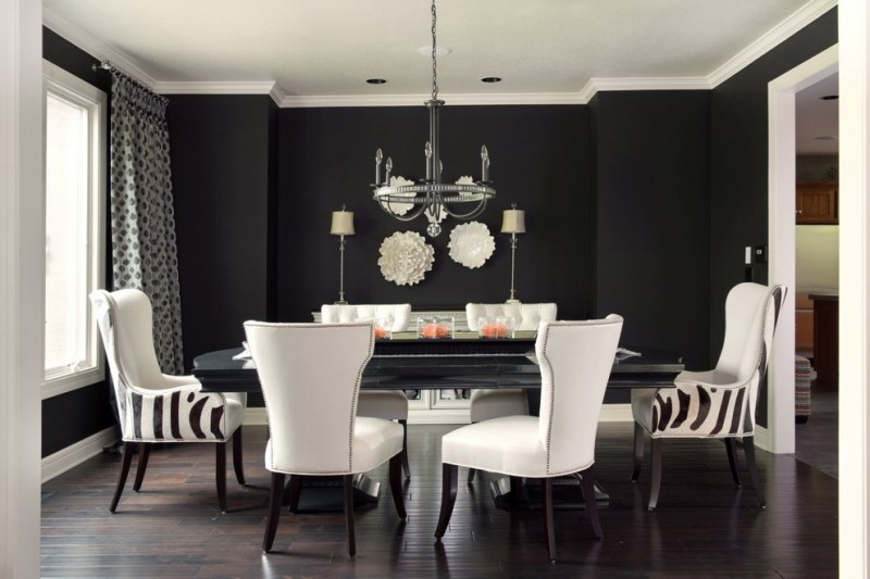 Dining Room Decorating Ideas Global Views Wall Plates Designmaster Chairs Black Hardwood Flooring
