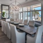 Dining Room Decorating Ideas Unique Chandelier Long Wood Dining Table Cushioned Chairs Big Mirrors Rustic Frames Sliding Glass Door
