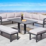 Dining Set With Black Painted Wooden Table, Sofa And Chairs With Grey Cushion On Cheirs And Sofa