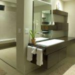 Floating Vanity Dark Vanity Under Mount Sink Bathroom Rug Wall Mounted Faucet Mirror Glass Door