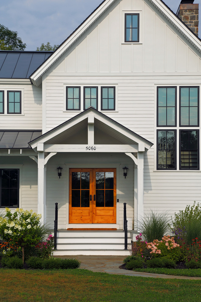 front doors with glass address numbers black trim covered entry entry landscaping exterior stairs garden modern farmhouse porch