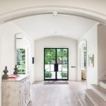 Front Doors With Glass Curved Ceiling Curved Entryway Distressed Cabinets Entry Rug Foyer Glass Double Door Frame Stairs Black Frame Glass Doors