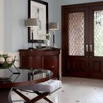 Front Doors With Glass Hayden Table Lamp With Tobacco Or Brushed Steel Beveleg Glass In Wodden Door Entryway Console Cushioned Stool Table