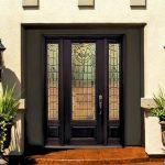 Front Doors With Glass Prehung Sidelights Door Fiberglass Palacion 1 Panel Three Quarter Lite Glass Outdoor Wall Lanterns Plants Brown Tile