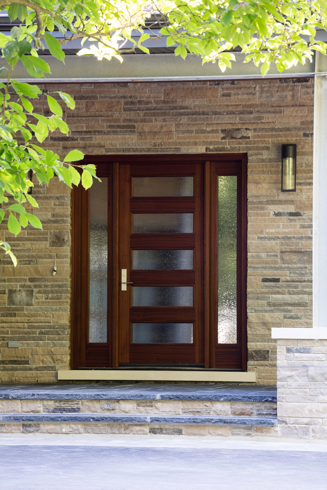 front doors with glass rain drops glass wooden frame outdoor wall sconce stone flooring and wall opaque glass door semi privacy glass door