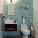 Green Tiled Wall Mirror Bathroom Lamp Floating Glass Shelf Wall Mounted Sink Wooden Vanity Vase Towel Holder Porcelain Floor