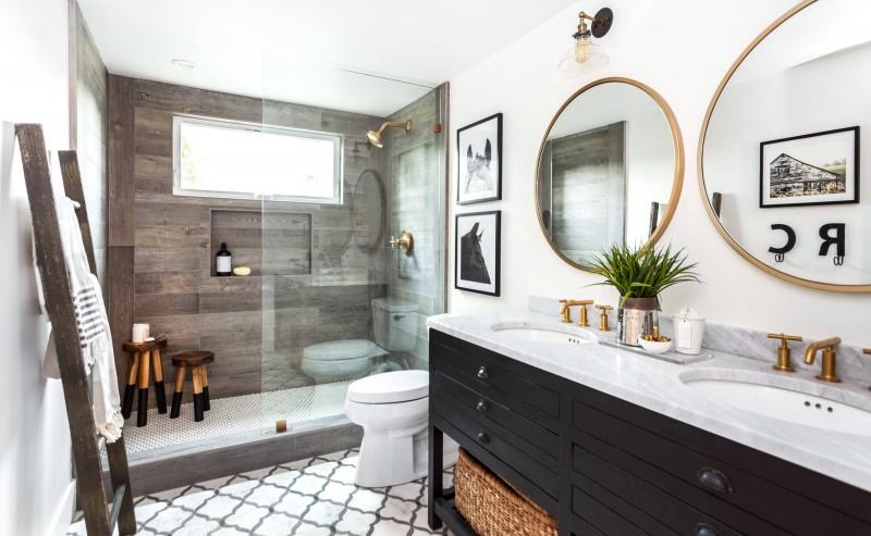 grey wall accent floor double round mirror black vanity granite countertop ladder towel rack bath stool rain shower wall decoration