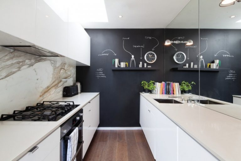 Kitchen Wall Decor Ideas Black Feature Chalkboard Dark Wood Flooring Galley Marble Splashback Mirror