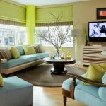 Living Room Color Schemes Blue And Green Color Living Room Features Thick Circle Rug Decorative Branches With Glass Vase Wood Table Minimalist Cabinet