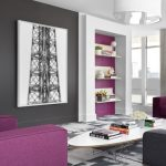 Living Room Color Schemes Eames Elliptical Cocktail Table Grand Series Chocolate Brown Purple And Dark Grey Colors Built In Shelves Minimalist Chandelier Gray Rug
