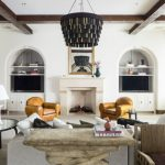 Living Room Furniture Ideas Mediterranean Style Black Chandelier Stone Table Built In Tv Stand Cabinets Shelves Armchairs