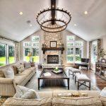 Living Room Furniture Ideas Murphy Herringbone Linen Classic Bobbin Leg Footstool Elegant Chandelier Cream Sofas Wood Table Modern Fireplace Tray Windows