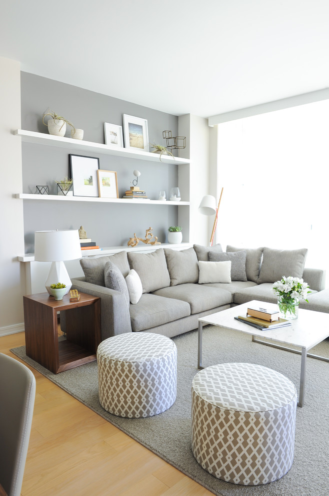 living room furniture ideas ottoman white minimalist coffee table grey couch gray rug wide window with shade built in shelves wooden box side table