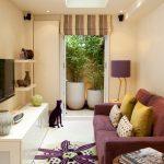 Living Room Furniture Ideas Porta Romana Duck Feet Lamp Glass Ceiling Side Table Purple Sofa White Console Small Rug Valance Shelves