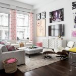 Living Room Furniture Ideas Sofa Ottomans Lucite Bright Yellow Bar Stools Lounge Chair Side Chairs Upholstered Chair Rug Retro Wall Decorations Lovely Curtains