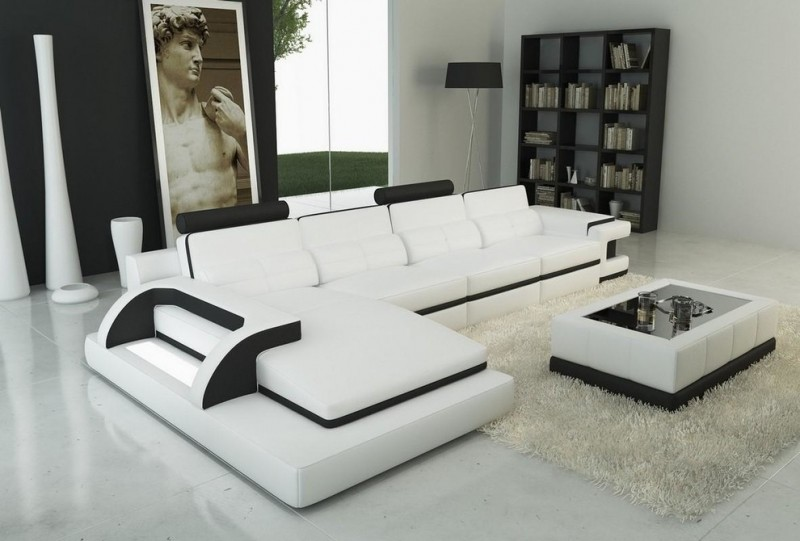 modern living room white leather sectional with black accents black glass top table with white bonded leather light grey area rug white floors