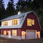 Pole Barn House Plans Board And Batten Cupola Dormer Windows Gambrel Roof Garage Doors Metal Roof Outdoor Lighting Red House