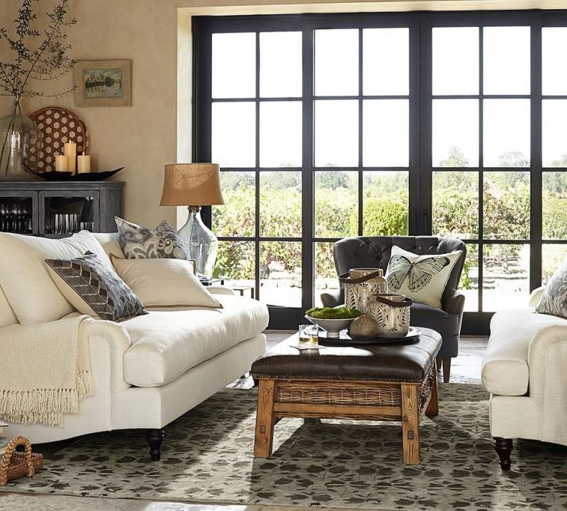 pottery barn living room amelia glass cabinet carlisle upholstered loveseat lansing leather recliner caden equestrian upholstered rectangular ottoman