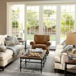Pottery Barn Living Room Brooklyn Leather Armchair Carlisle Upholstered Grand Sofa Parquet Coffee Table Maddie Beaded Lumbar Pillow Cover
