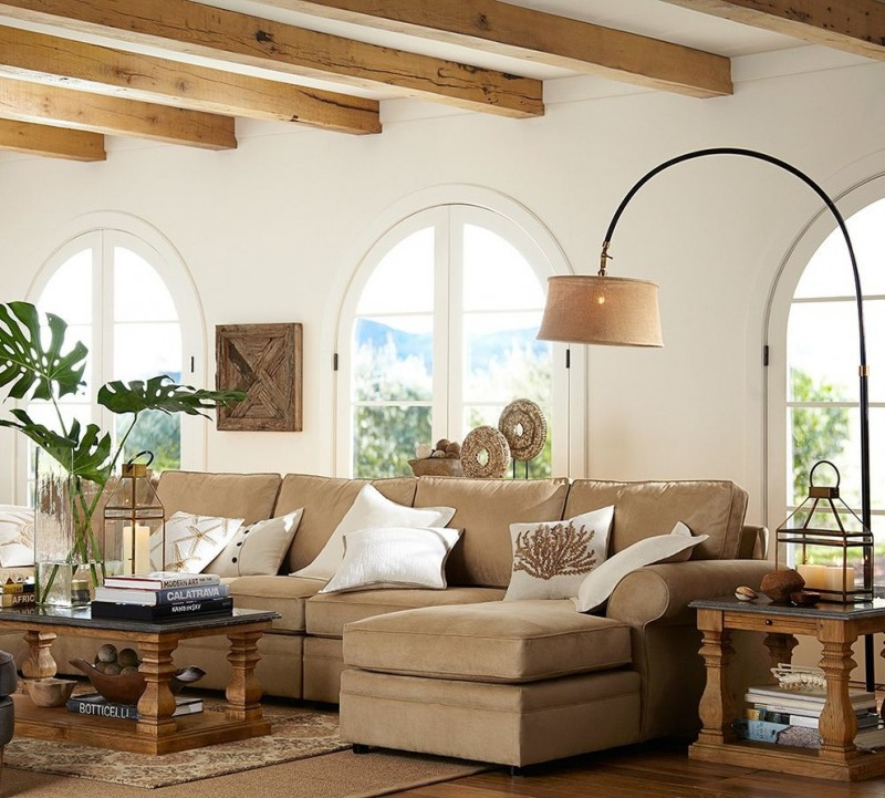 pottery barn living room pearce upholstered 4 piece double chaise sectional sutton side table sutton wood and stone coffee table winslow arc floor lamp