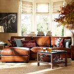 Pottery Barn Living Room Turner Leather 2 Piece Sectional With Chaise Connor Coffee Table Connor Side Table Chelsea Table And Bedside Lamp Norton Killim Lumbar Pillow Cover