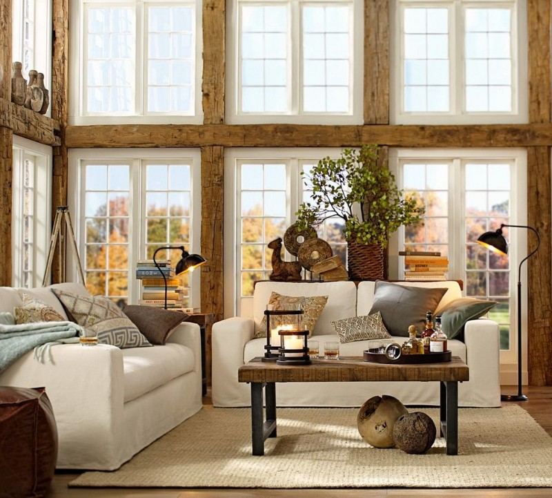 pottery barn living room wayland task floor lamp griffen coffee table solano sofa leather cube pillow tullah pillow cover rug windows