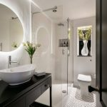 Round Mirror Backlit Mirror Vessel Sink Dark Vanity Glass Siding Accent Floor Recssed Lights Open Shelf