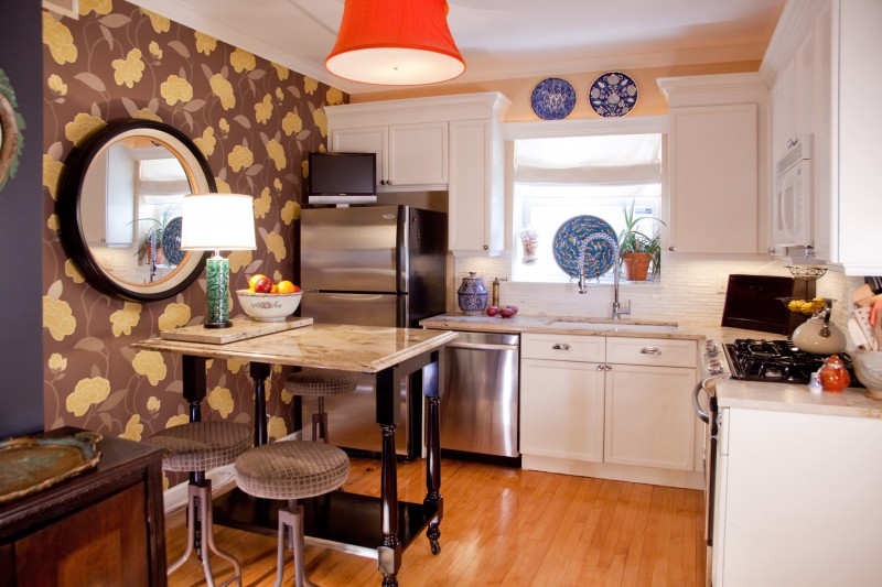 round mirror orange ceiling lamp bar stool granite countertop white flat panel cabinet wall decoration wooden floor