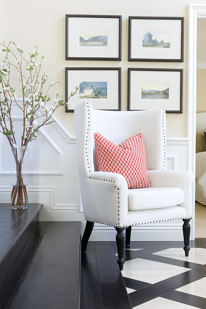 simple & eclectic chair in white accented with black polka dots borders and black legs white red stripes throw pillow
