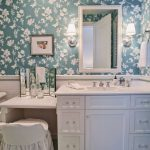 Timeless Bathroom Remodel With Recessed Panel Cabinets, White Cabinets And A Two Piece Toilet Wallpaper Square Mirror Sconces Crystal Jars White Tiles Ceramic Wall