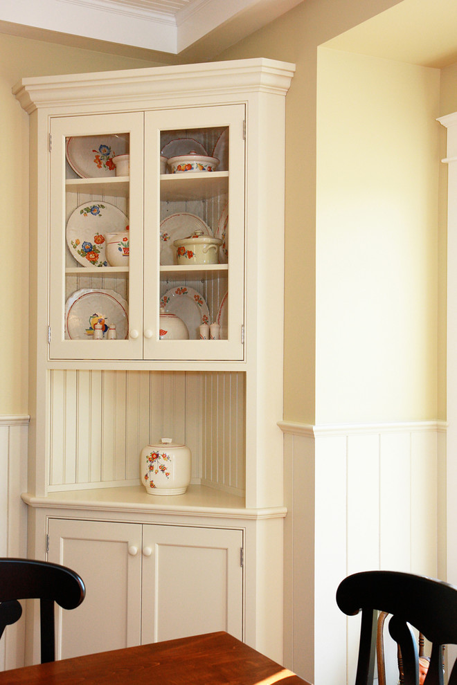 traditional built in corner cabinet in white
