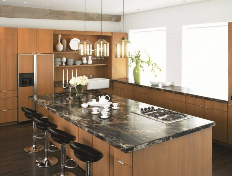 Trendy Kitchen Design With A Farmhouse Sink Flat Panel Cabinets Medium Tone Wood