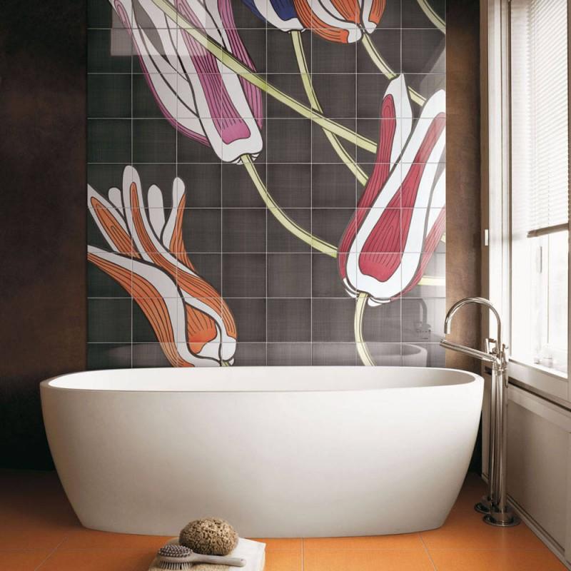 tulip tiled wall free standing tub free standing faucet orange floor