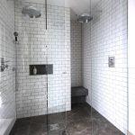 Walk In Shower Designs Two Head Showers Frameless Shower Glass Doors Matte White Brick Wall Design Shalpoo Shelf Dark Floor
