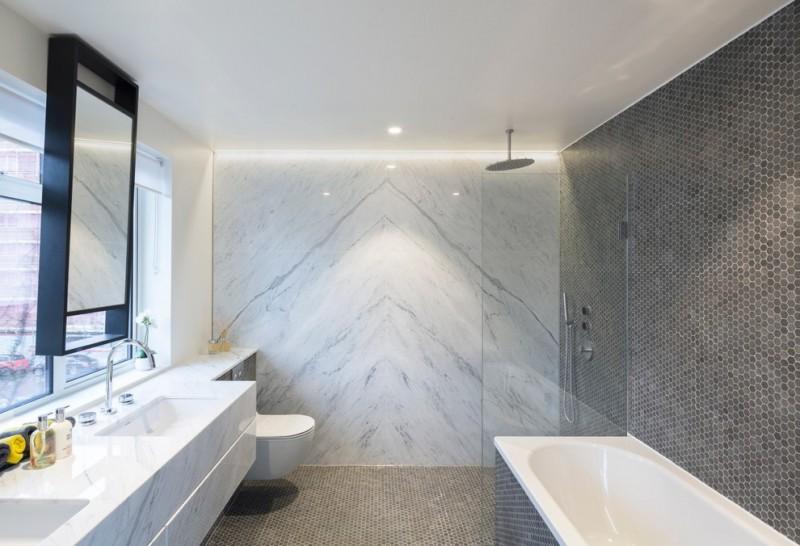 walk in shower designs unique dak gray wall tiles contemporary bathroom vanity toilet tub marble wall brown floor tiles mirror