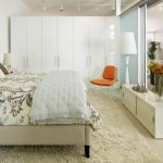 White Wardrobe White Wall Frosted Glass Sliding Room Divider White Cabinet Track Lights Standing Lamp Area Rug Orange Chair Glass Vase