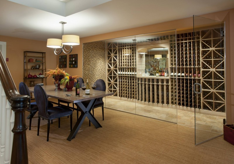 wine room wine storage glass wall glass door marble floor mosaic tiled wall wooden floor pendant light bamboo rack dining area