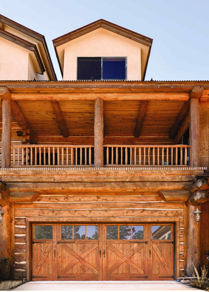 wooden garage glass window wood trim garage pulls paving wooden ceiling balcony antique lamp exposed beams