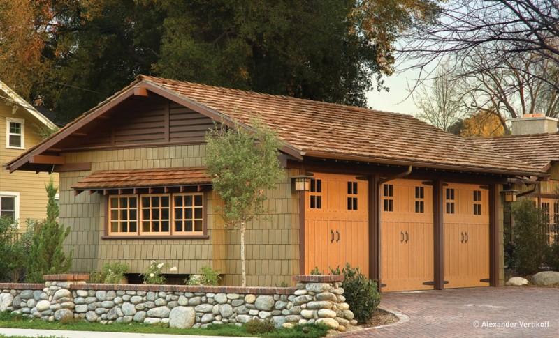 wooden garage three car gaarge canopy garage holder garage window shingle garage lamps rock decoration brick driveway