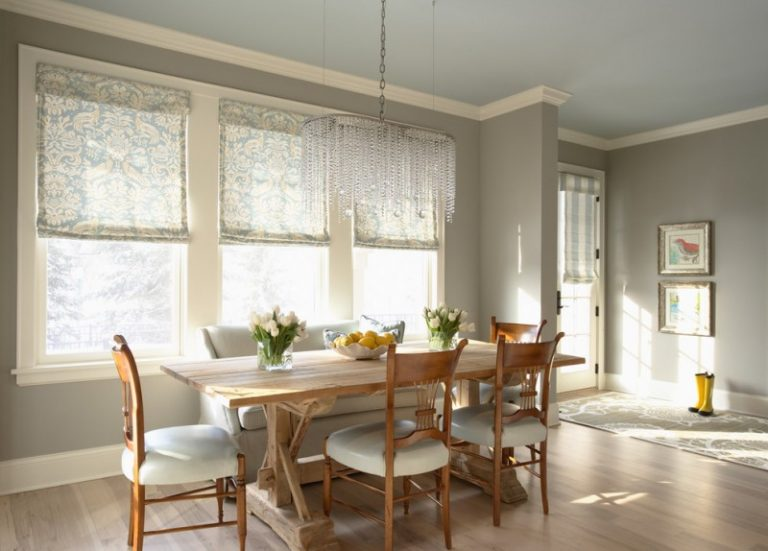 Clic Dining Room With Gray Walls And Light Hardwood Floors Wooden Sets White