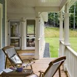 Ranch Front Porch Idea Chairs With Linen Screen On Back And Seat Dark Toned Wood Table