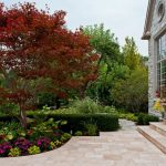 Traditional Front Yard Landscape With Natural Stone Pavers Maple Tree Exposed Mortar Stone Wall Concrete Flower Vase Glass Windows In Beige Trim