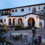 Wall Mounted Lanterns Brick Patio Arched Window Archway Fountain Balcony Courtyard Landscape Outdoor Bench